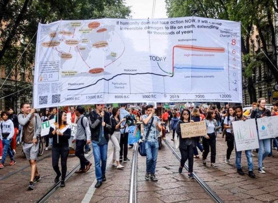 gli studenti del prof.Caserini in piazza durante i Fridays for Future